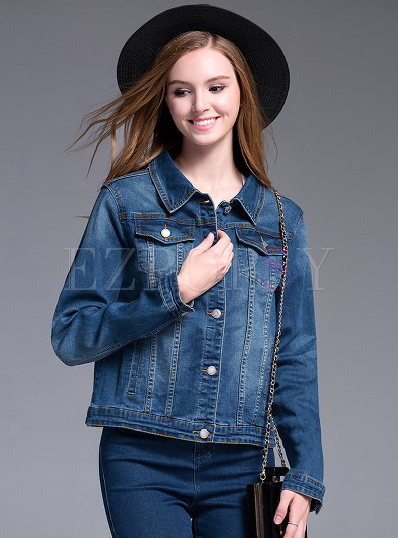 Turn Down Collar Loose Denim Jacket