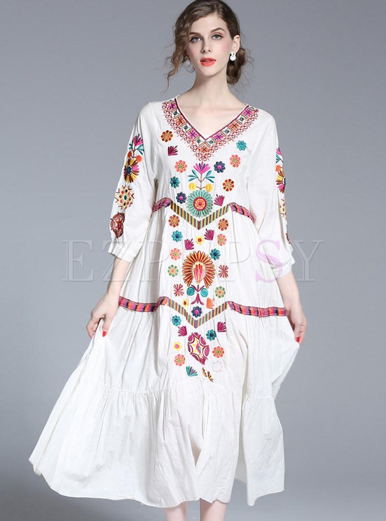 Dresses Maxi Dresses Ethnic V Neck Loose Embroidered