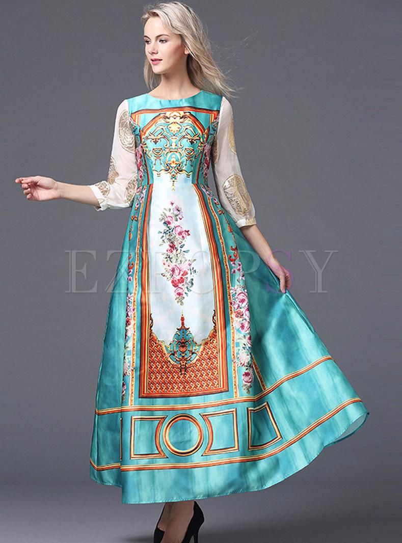 764ca35da76d Dresses | Maxi Dresses | Vintage Court Floral Print Puff Sleeve Maxi Dress