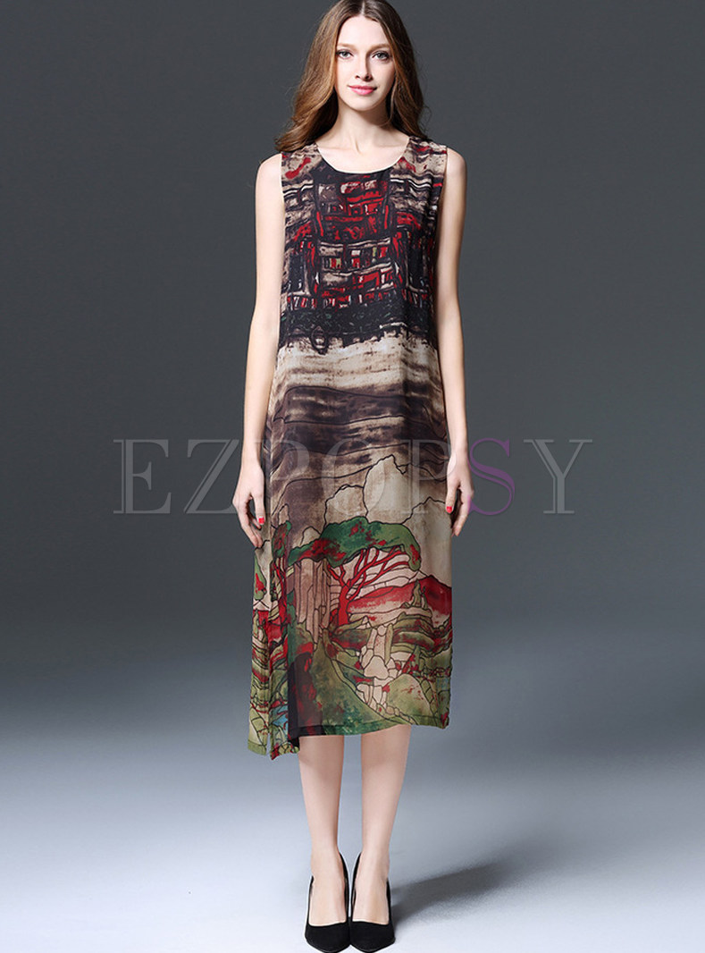 Ethnic O-neck Sleeveless Print Maxi Dress