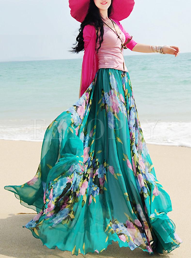 Chic Floral Print Big Hem Bohemia Skirt