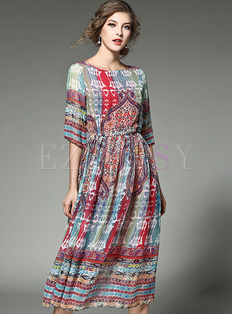 Vintage Print Half Sleeve Slim Stylish Skater Dress