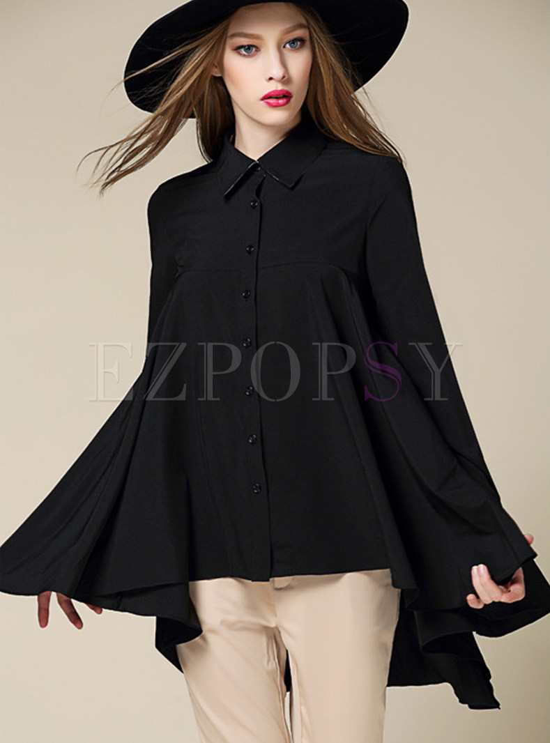 Brief Asymmetrical Hem Turn Down Collar Blouse
