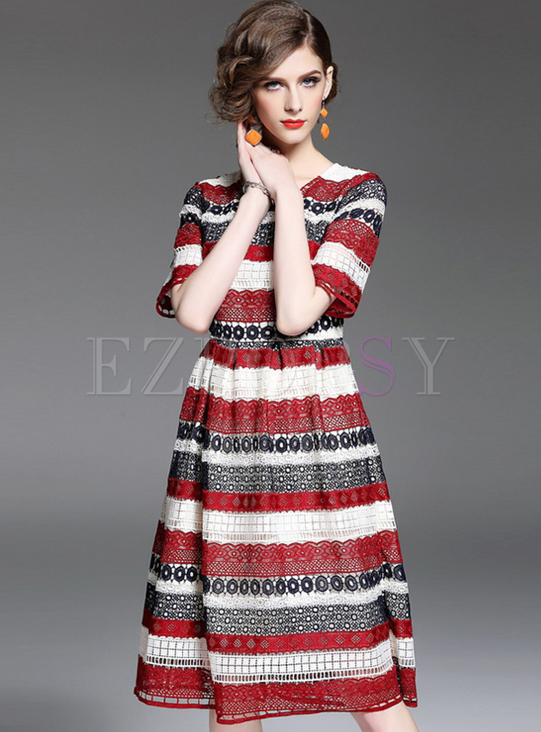 Brief Striped A Line Short Sleeve Lace Skater Dress
