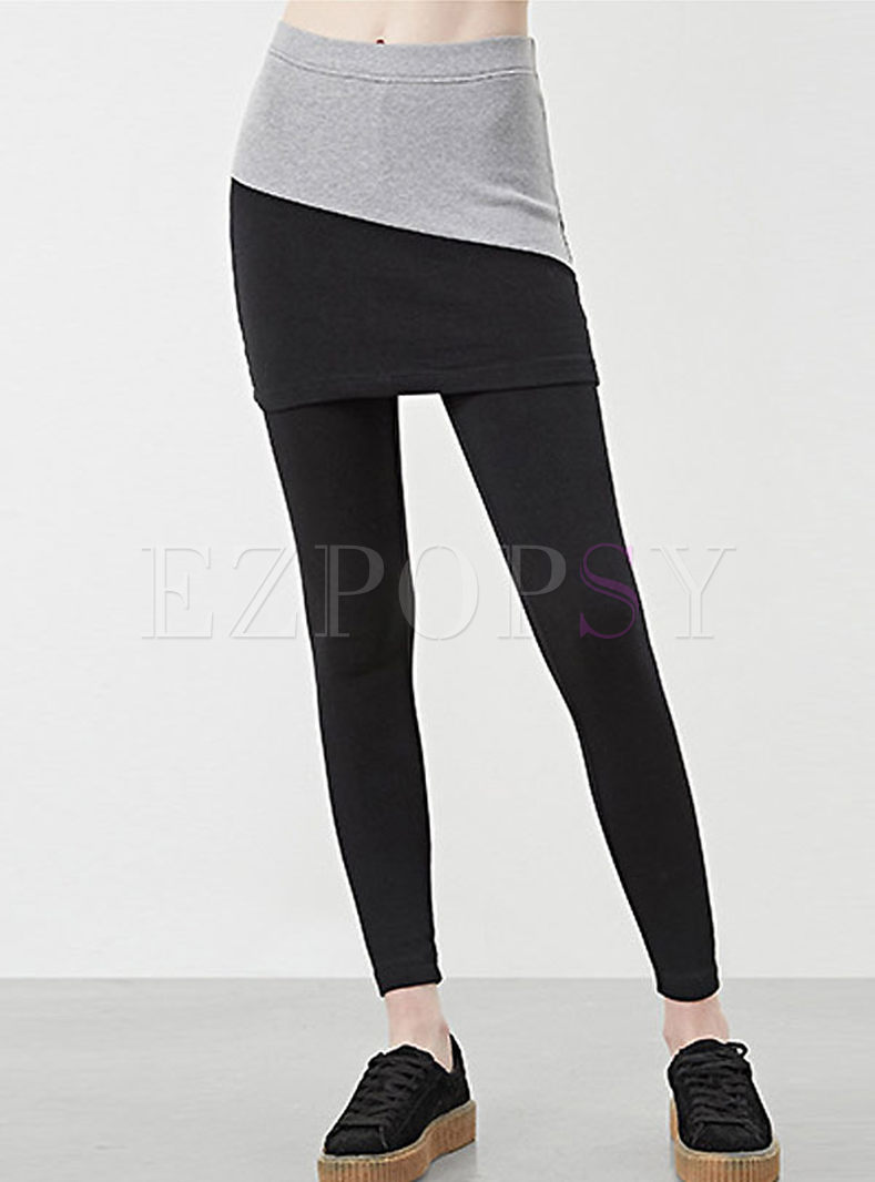 Slim Comfortable Patchwork Fake Two Piece Fitness Yoga Pants