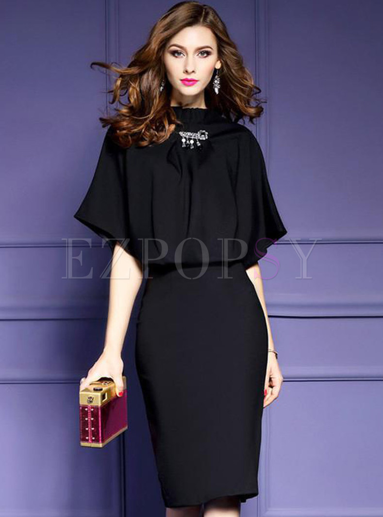 Work Elegant Short Sleeve Patch Slim Bodycon Dress