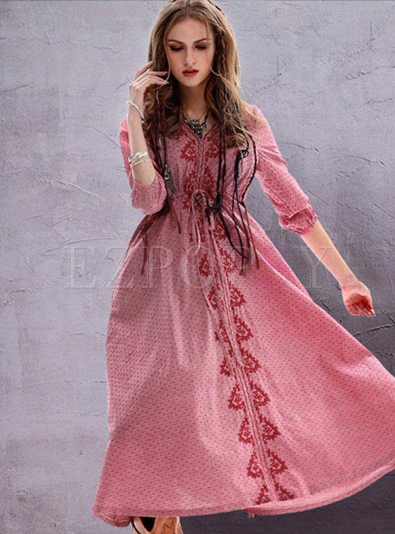 Vintage Embroidery Half Sleeve Linen Plus Size Skater Dress
