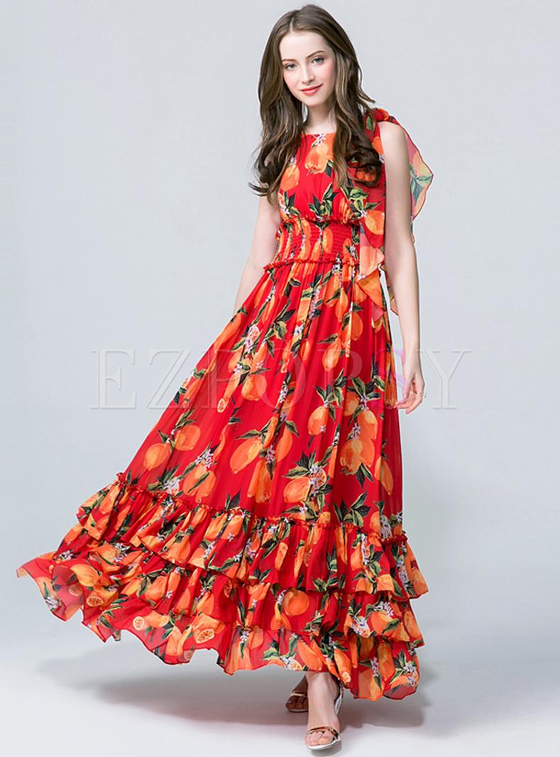 Dresses Maxi Dresses Bohemia Fruit Print High Waist