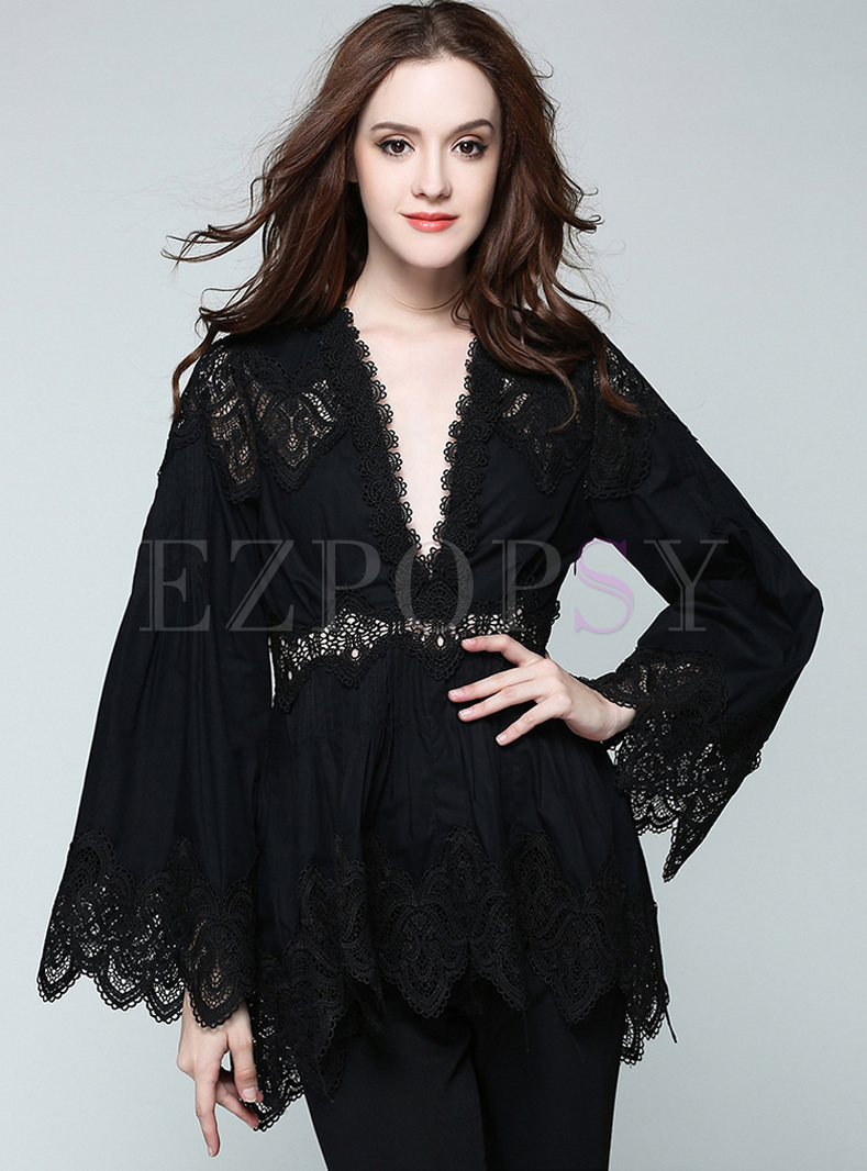 Sexy Lace V-neck Waist Pullover Blouse