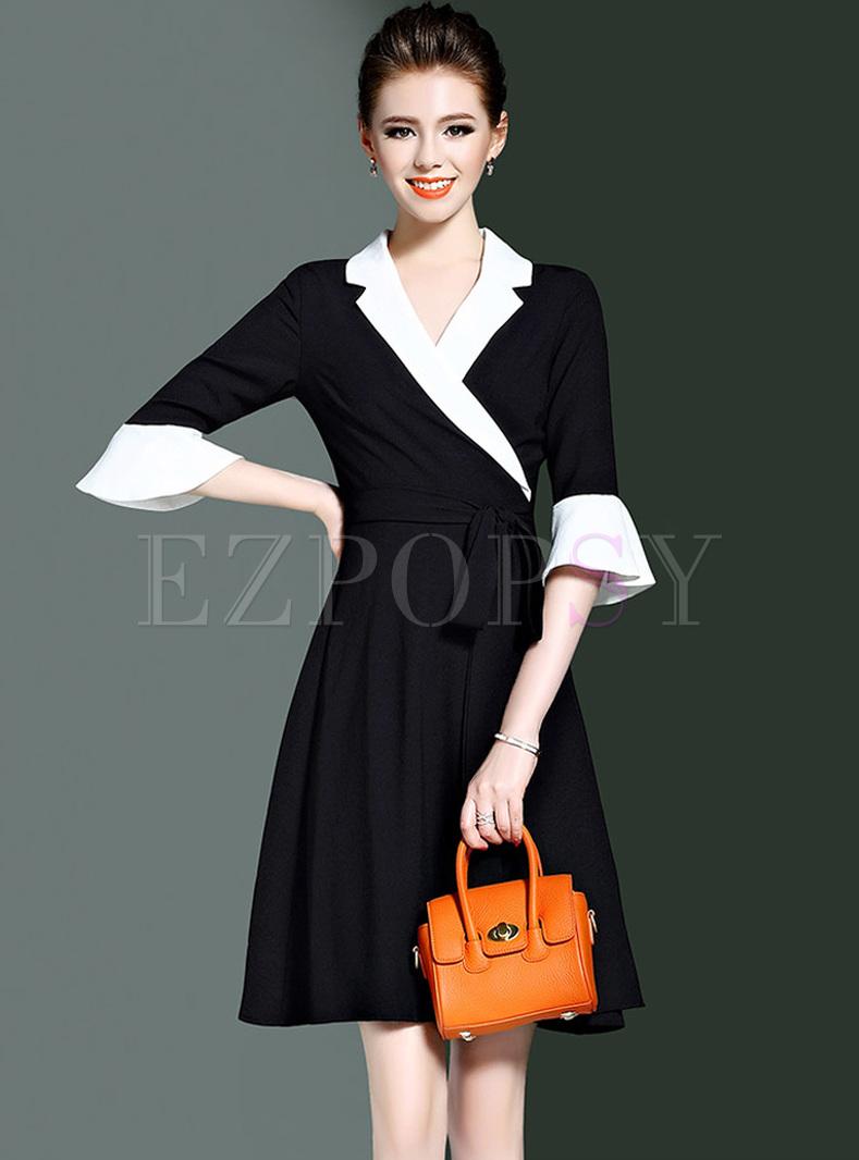 Elegant Color-blocked Flare Sleeve Skater Dress