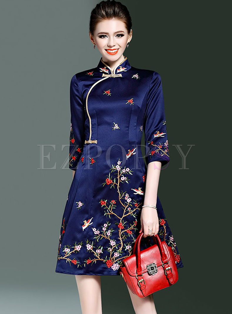 Ethnic Multicolor Embroidery Improved Cheongsam Skater Dress