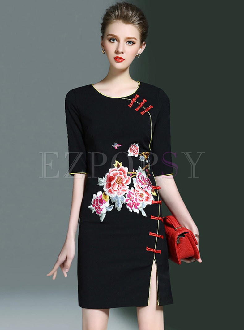 Vintage Embroidery Split Half Sleeve Ethic Bodycon Dress