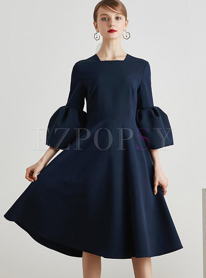 Brief Pure Color Flare Sleeve Skater Dress
