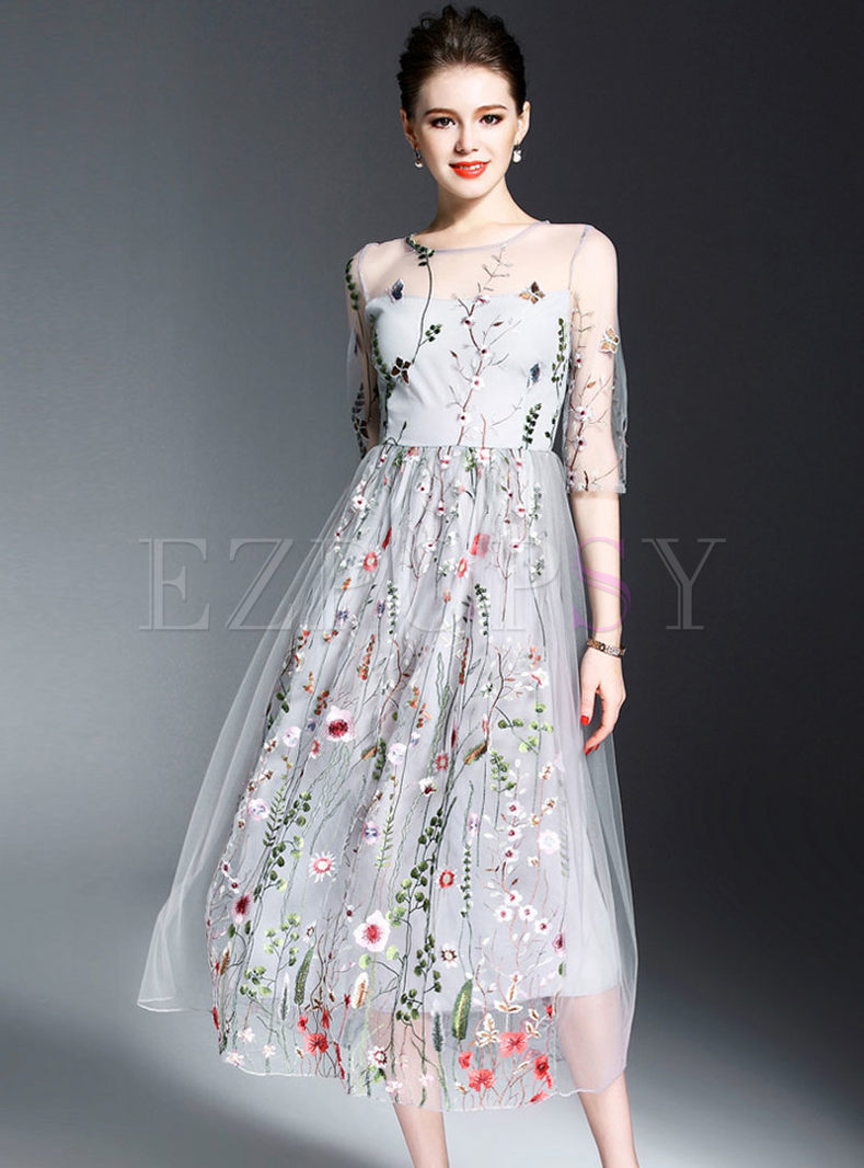 Embroidered Patchwork Half Sleeve Bridesmaid Dress