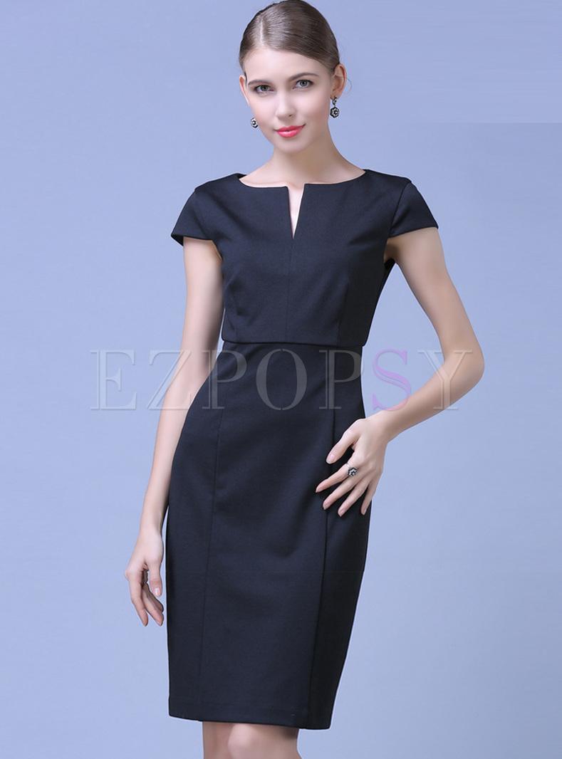 Black bodycon dress knee length wedding dress wedding