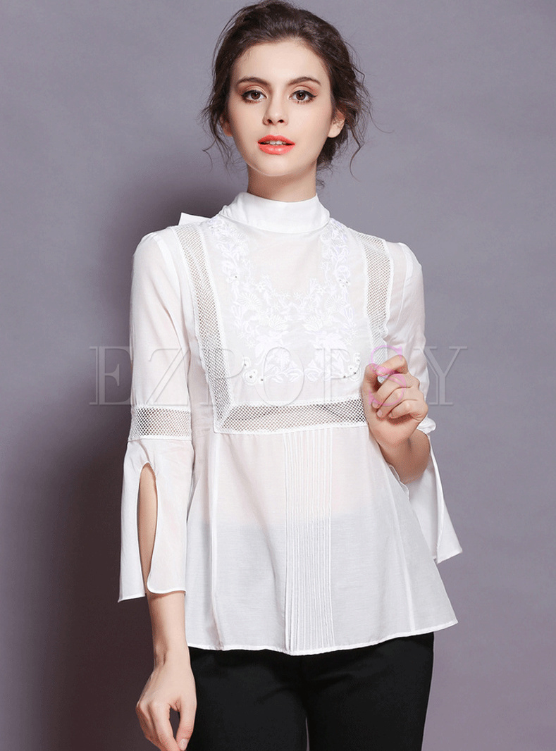Stand Collar Blouse Designs Images : Embroidered stand collar waist flare sleeve blouse
