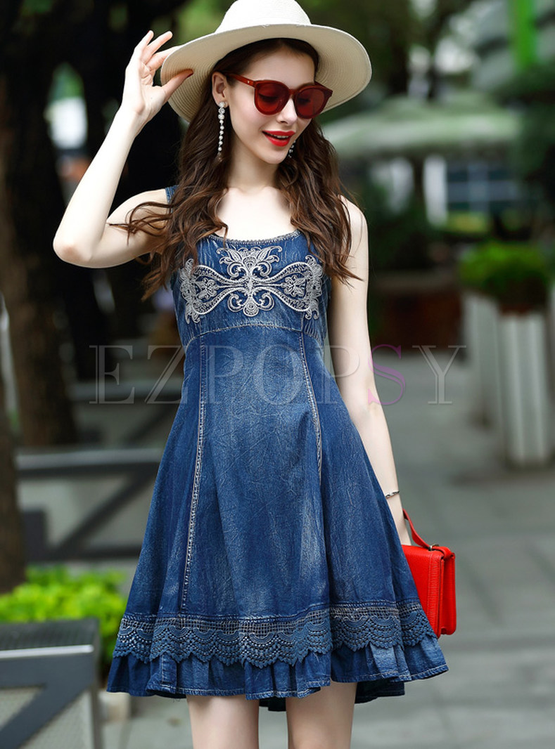 Vintage Hollow Out Sleeveless Skater Dress