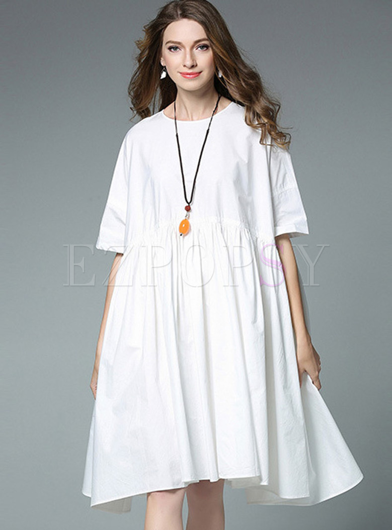 Brief Pure Color Half Sleeve Shift Dress