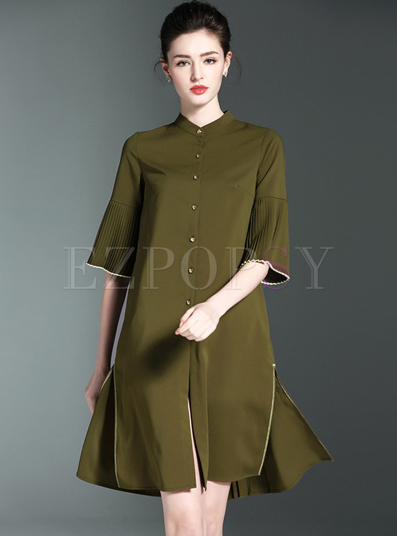 Stand Collar Dress Designs : Vintage pure color stand collar shift dress ezpopsy