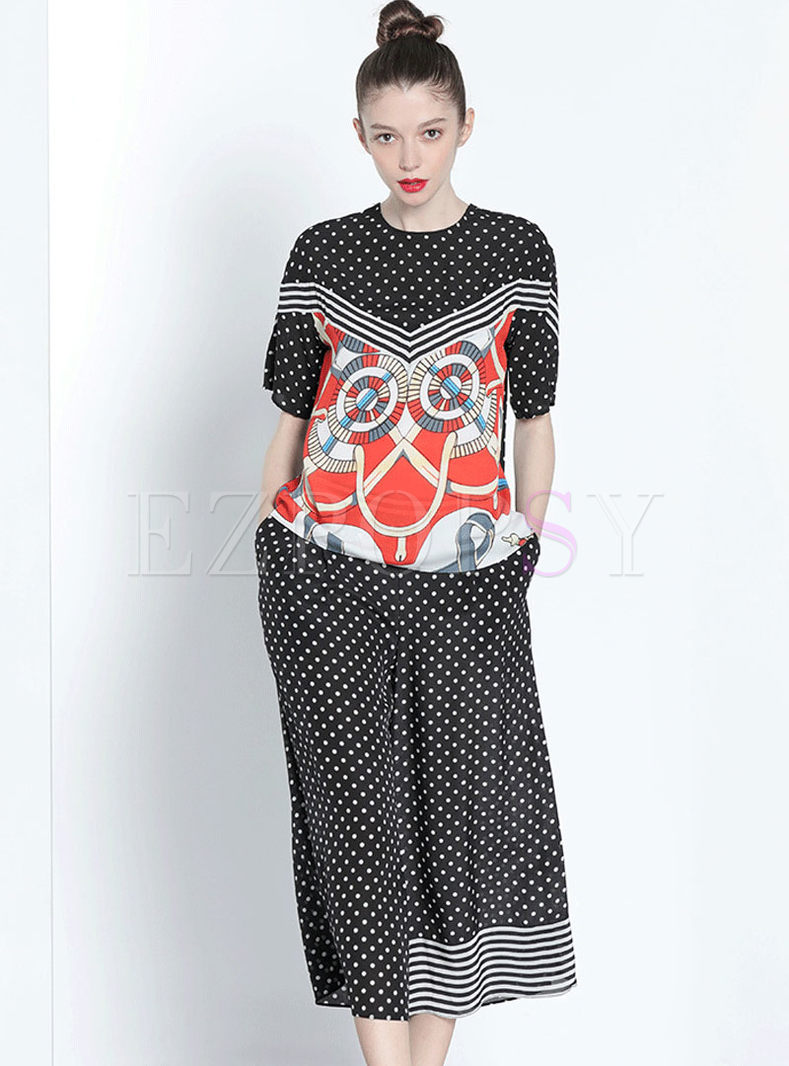 O-neck Short Sleeve Print Silk Two-piece Outfits