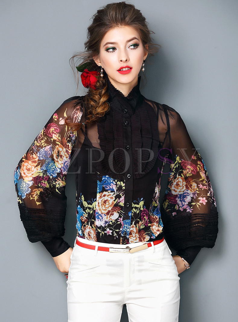 Elegant Nonlocating Print Lantern Sleeve Blouse