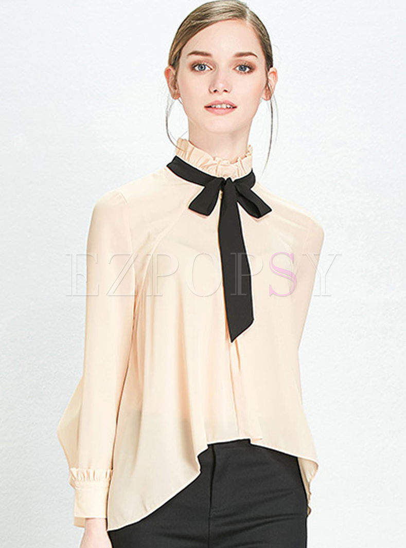Asymmetry Bowknot Stand Collar Long Sleeve Blouse ...