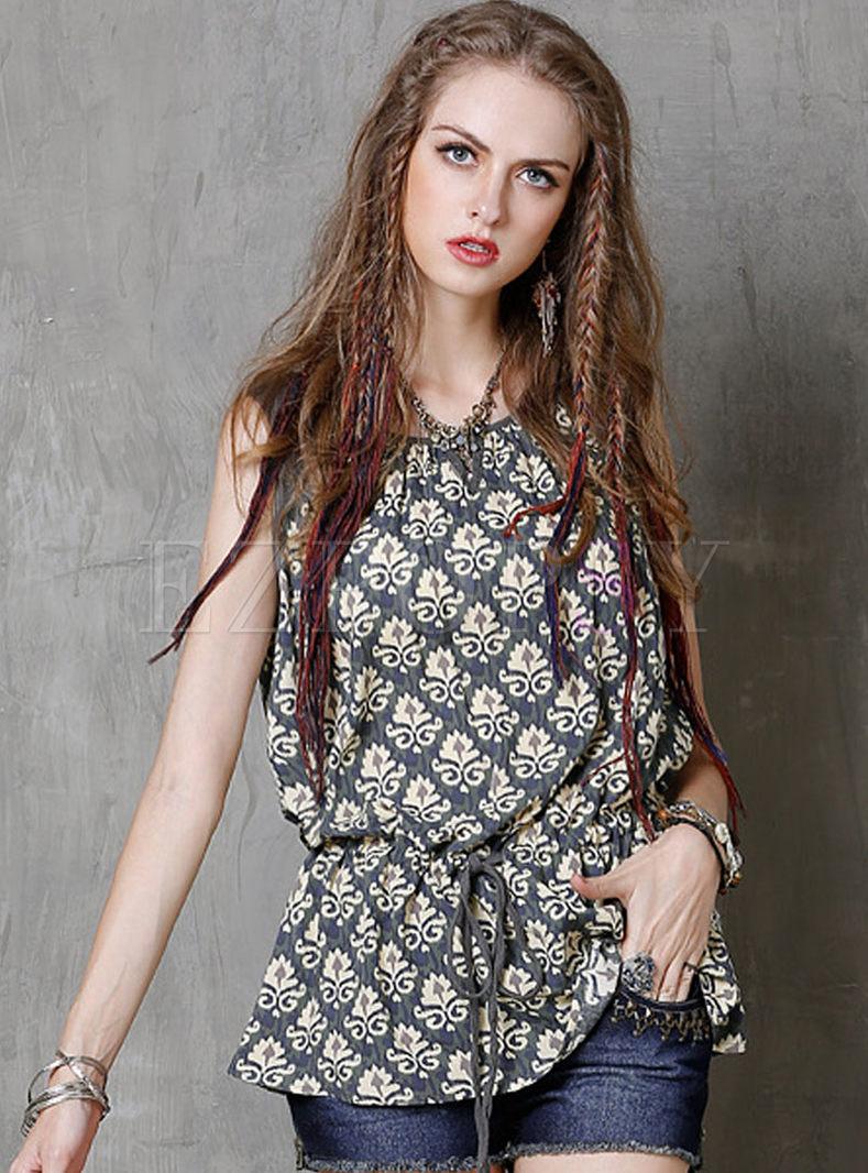 Vintage Floral Print Cotton Loose Camis