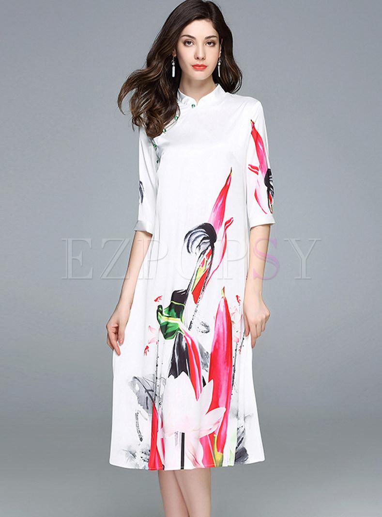 Stand Collar Dress Designs : Dresses shift lotus design stand collar three