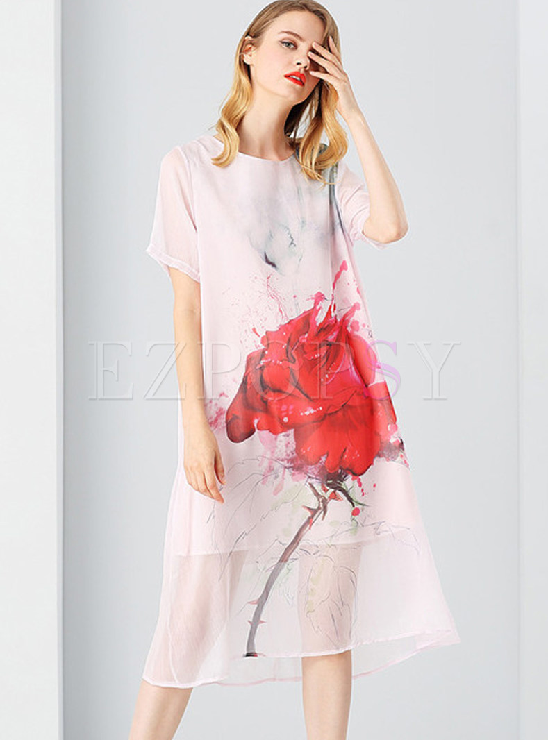 Dresses Shift Dresses Rose Design See Through Short