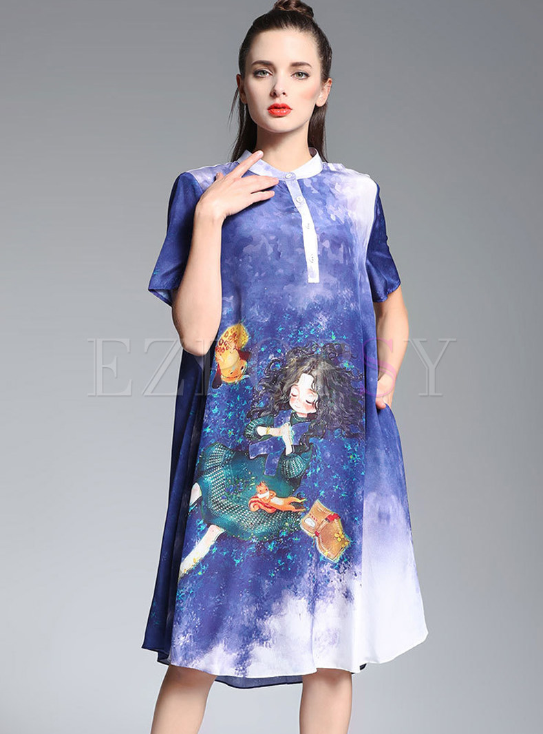 Stand Collar Dress Designs : Dresses shift gradient cartoon design stand