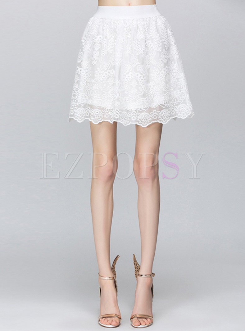 Mini Brief White Lace Elastic Waist Skirt