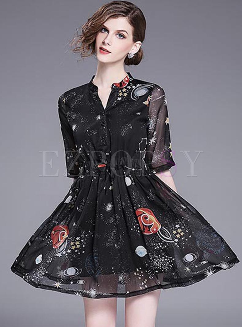 black print stand collar skater dress ezpopsy
