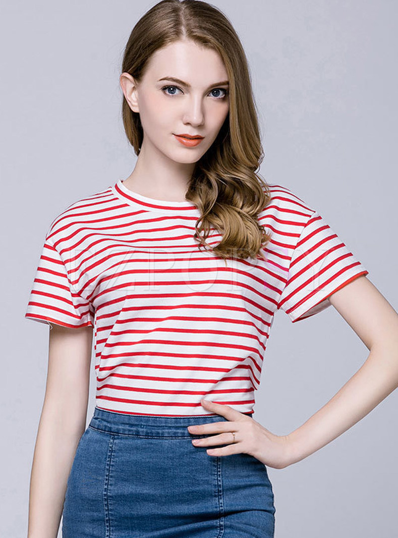 Cotton Striped O-neck Short Sleeve T-shirt