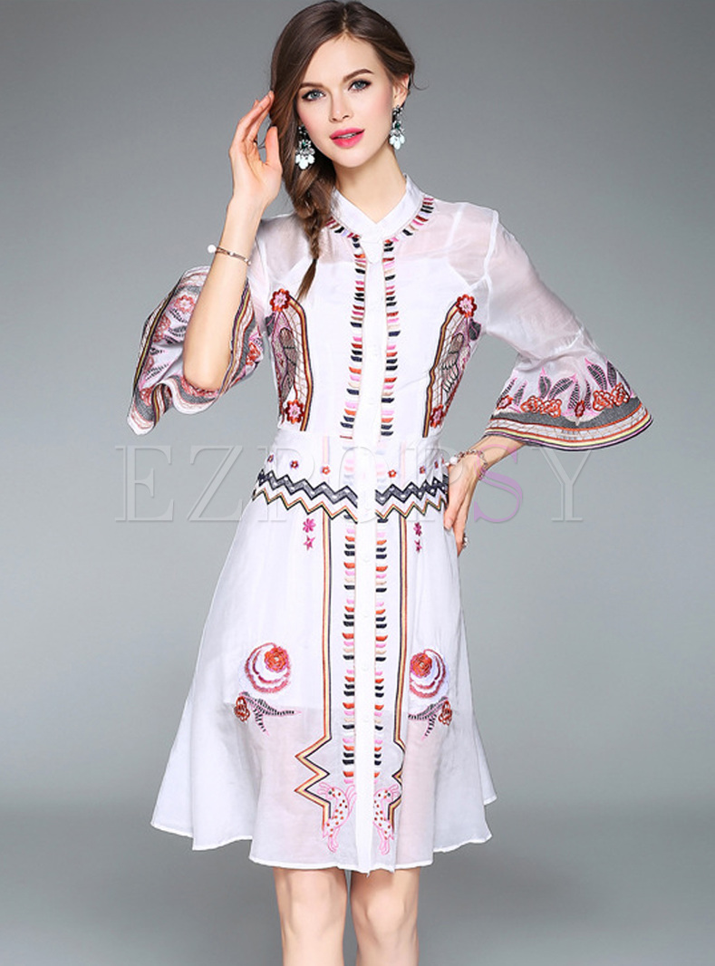 Dresses Skater Dresses Ethnic Embroidery Flare Sleeve