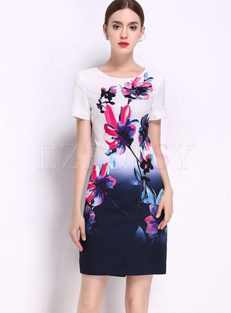 Ethnic Lotus Design Print Short Sleeve Bodycon Dress