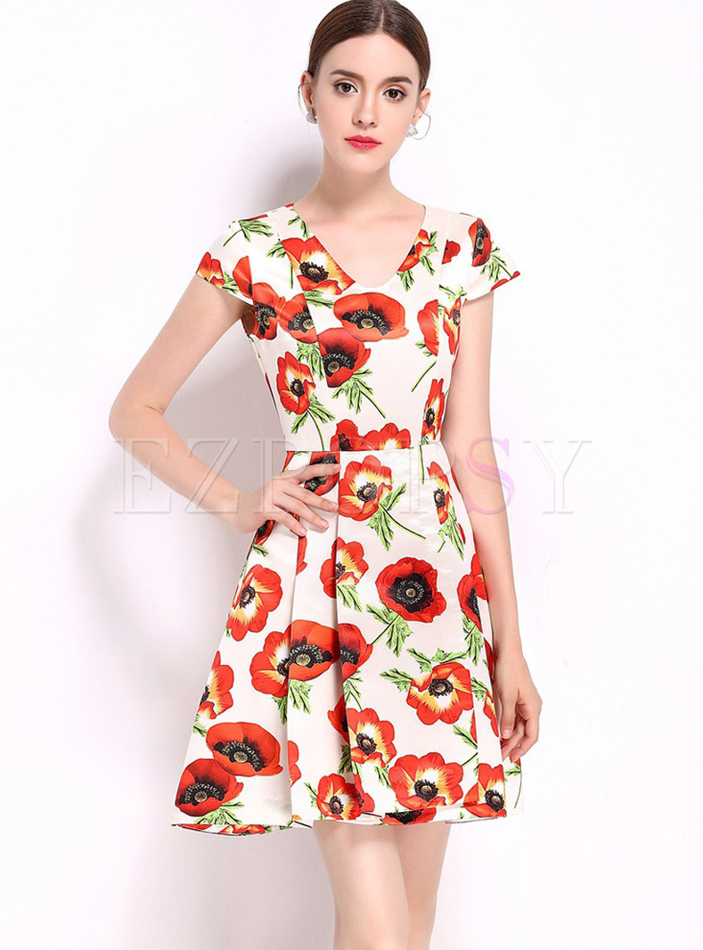 Brief Flowers Design Print Slim Short Sleeve Skater Dress