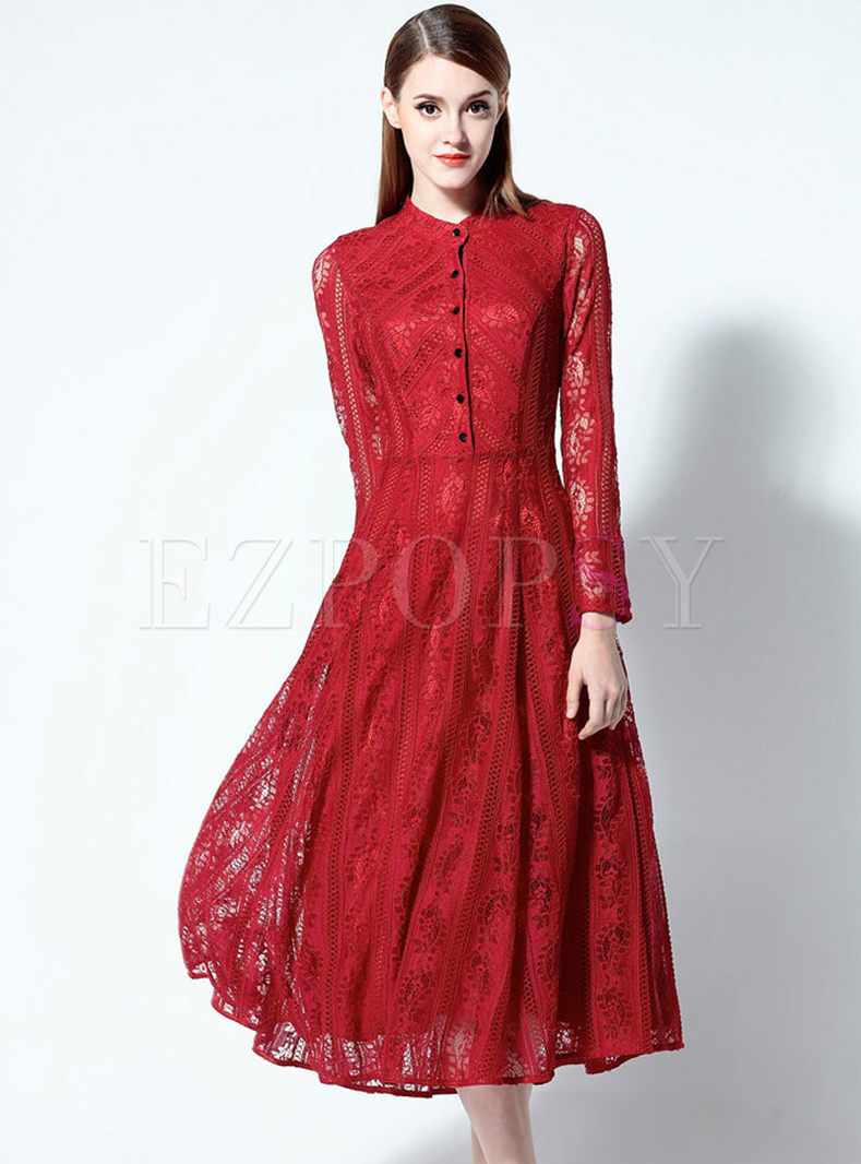 Stand Collar Dress Designs : Sexy lace stand collar long sleeve slim skater dress