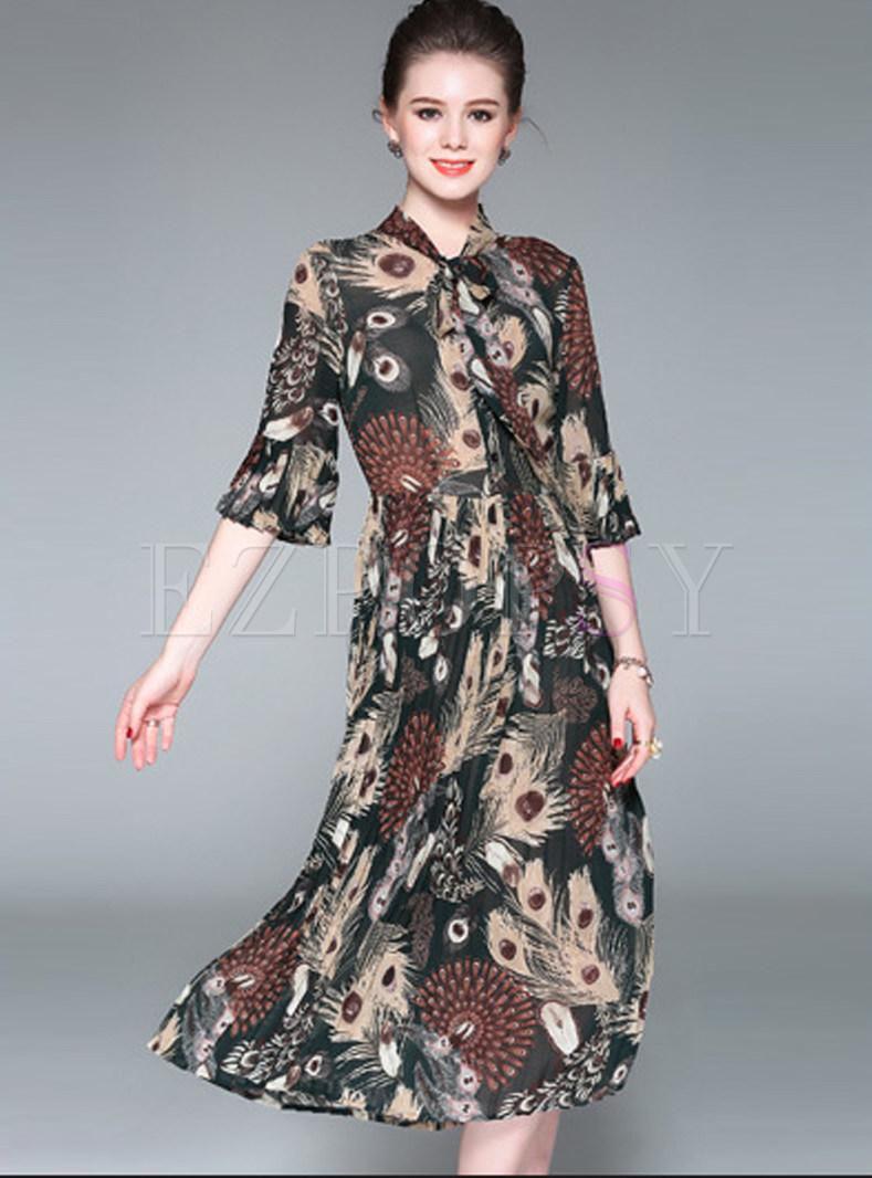 Stand Collar Dress Designs : Dresses skater feather design print stand