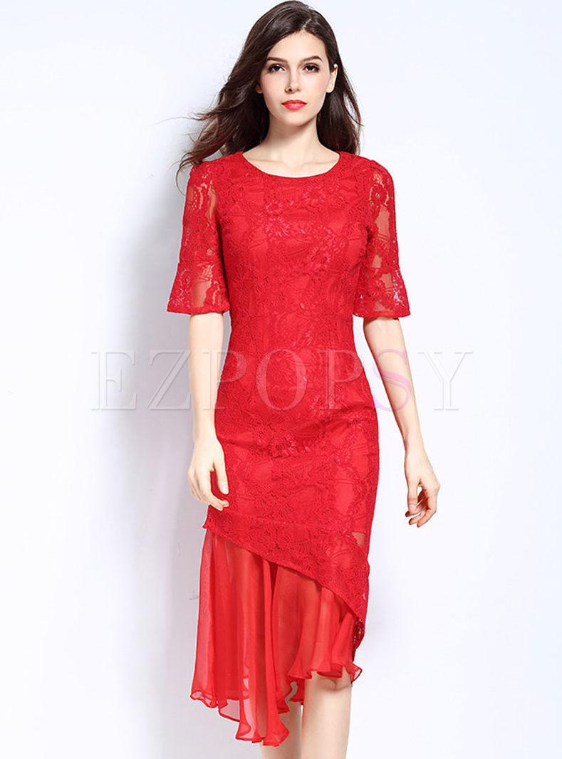 Party Sexy Lace Falbala Mermaid Sheath Bodycon Dress