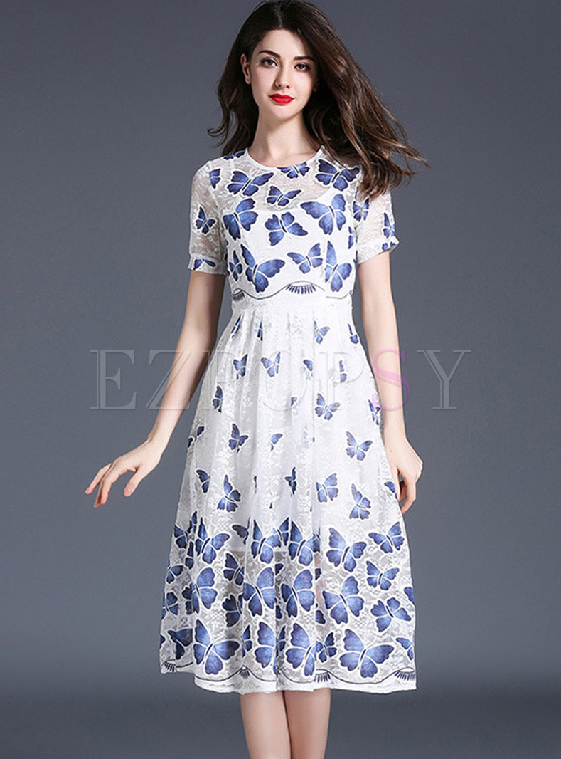 Lace Mesh Butterfly Design Print Short Sleeve Skater Dress