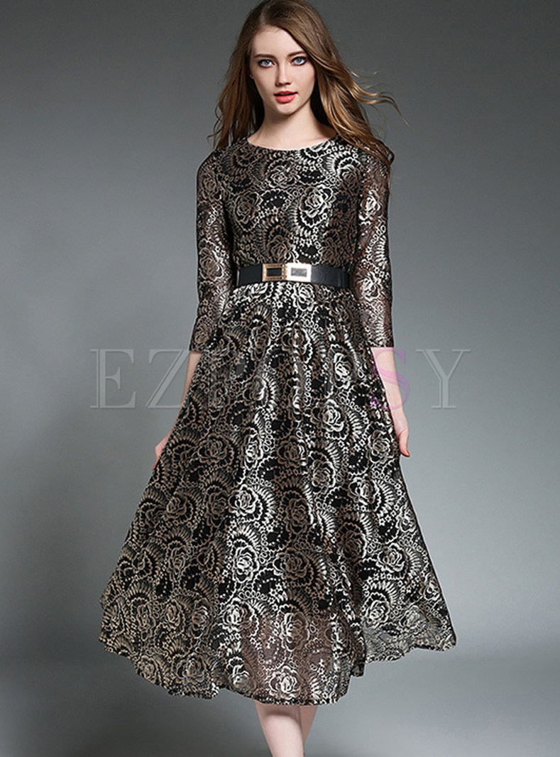 Elegant Lace Hollow Out Gathered Waist Three Quarters Sleeve Skater Dress