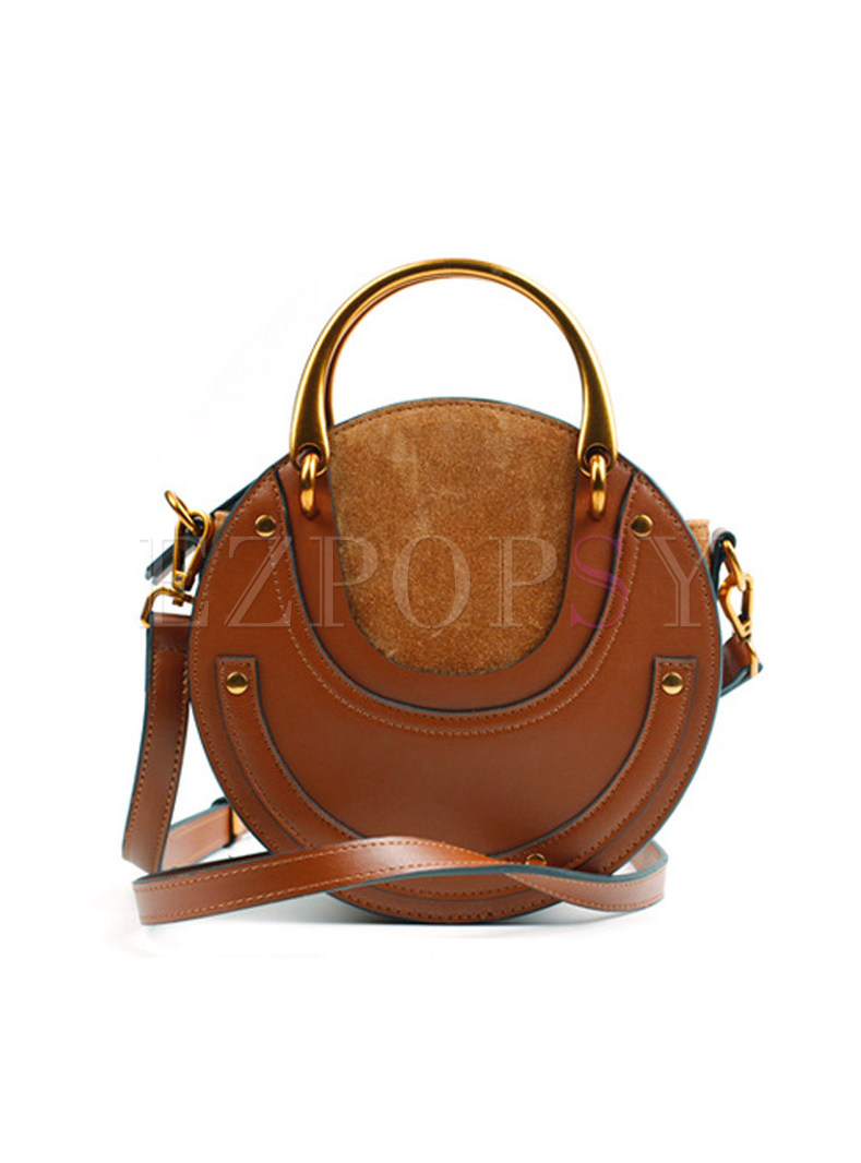Vintage Metal Circle Frosted Stitching Crossbody Bag ...