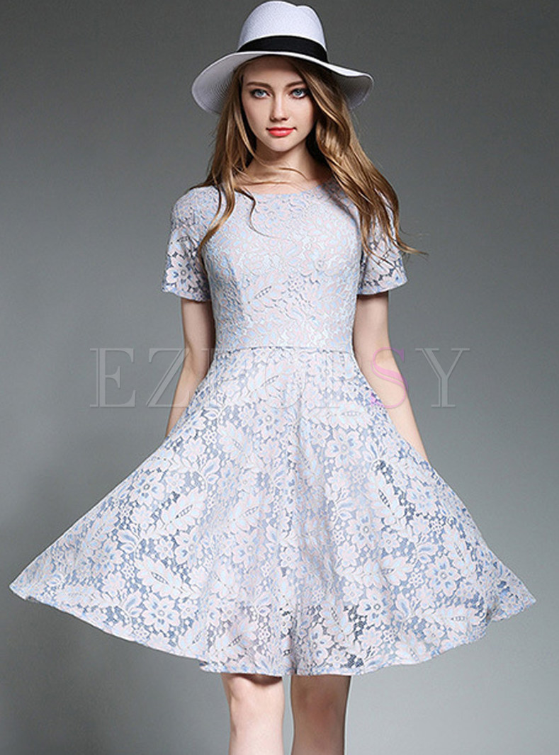 Lace Hollow Out Gathered Waist Short Sleeve Skater Dress