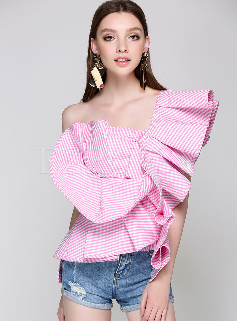 Sexy One Shoulder Falbala Blouse