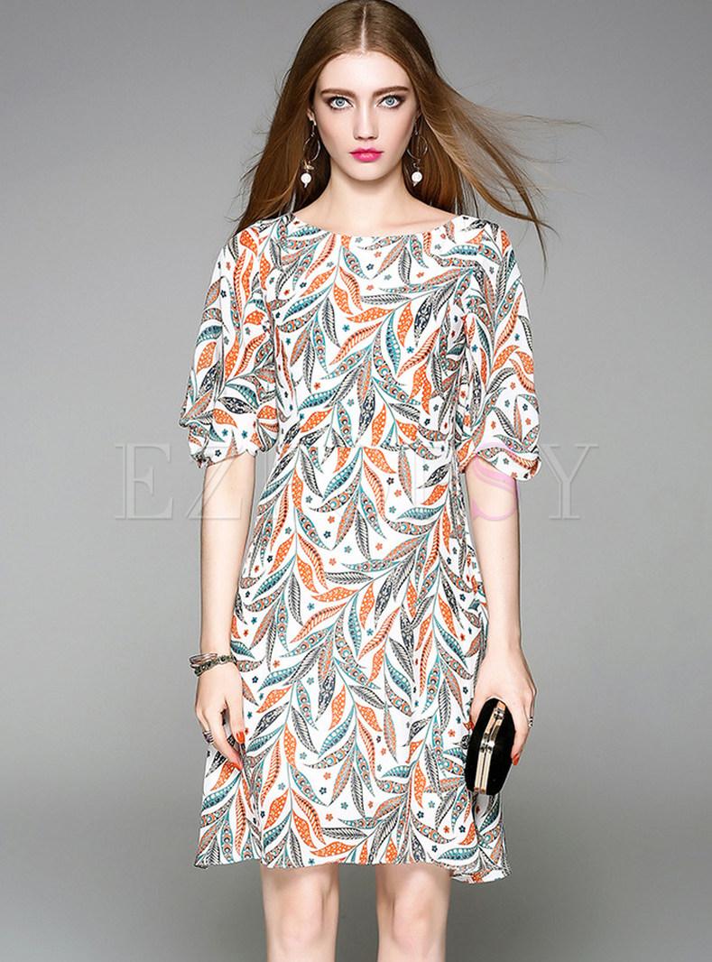Dresses | Skater Dresses | Silk Leaf Design Print Half ...