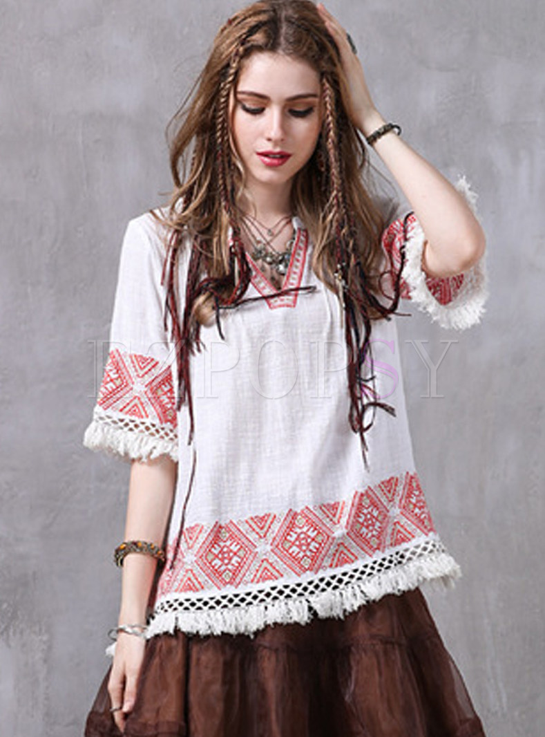 Chic Embroidered Tassels Loose Blouse