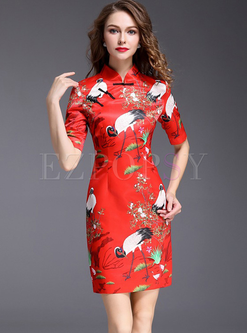 Ethnic Floral Print Short Sleeve Cheongsam Bodycon Dress