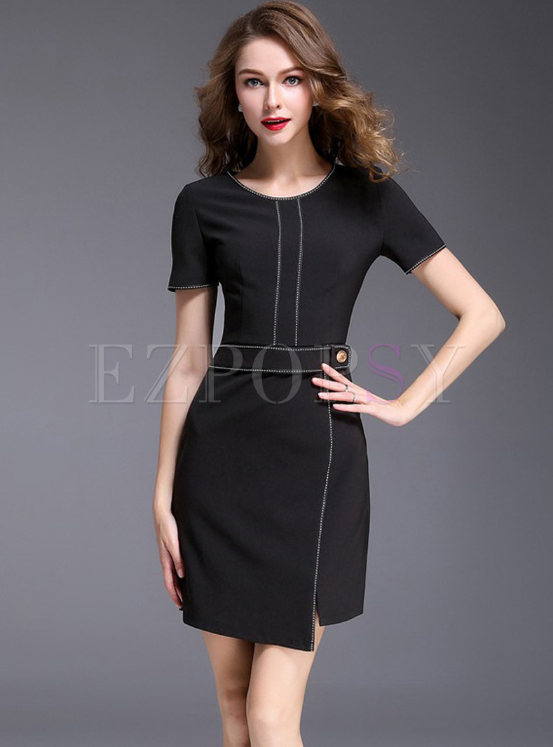 Brief Black Short Sleeve Slit Bodycon Dress
