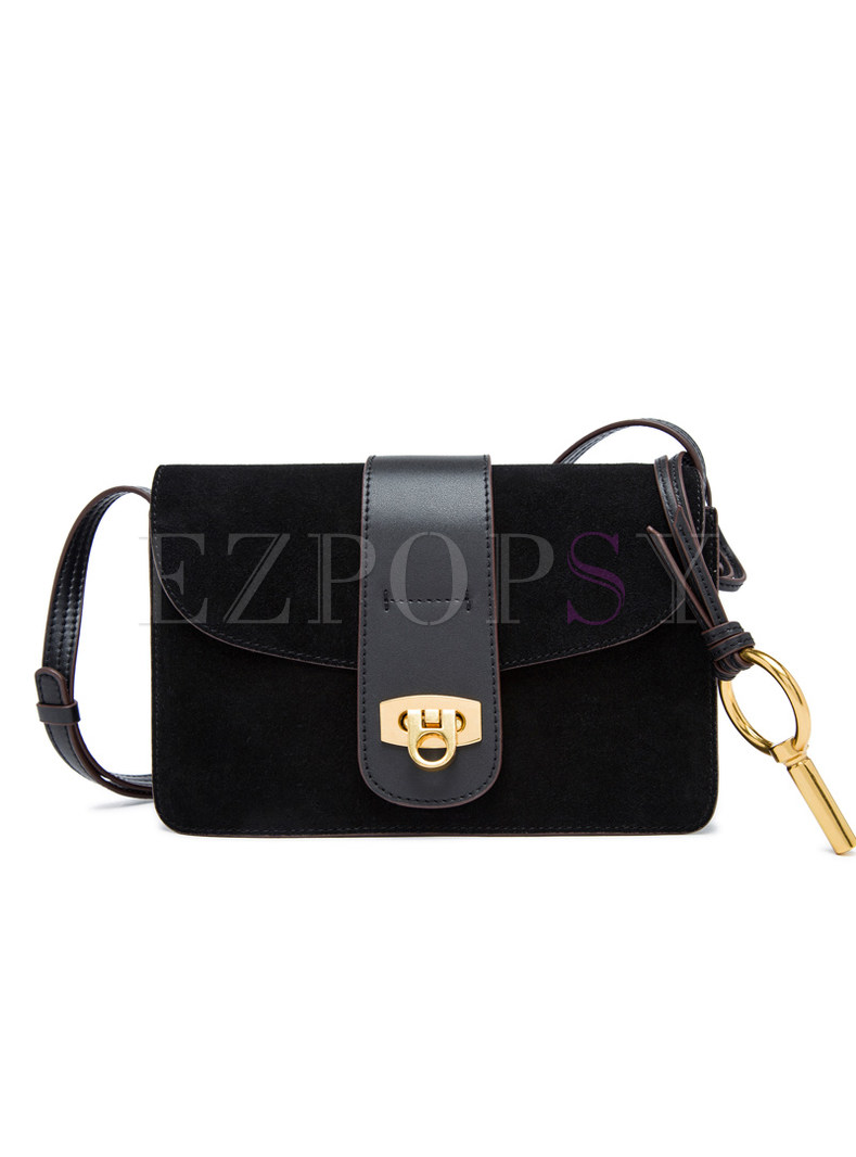 Vintage Frosted Clasp Lock Crossbody Bag