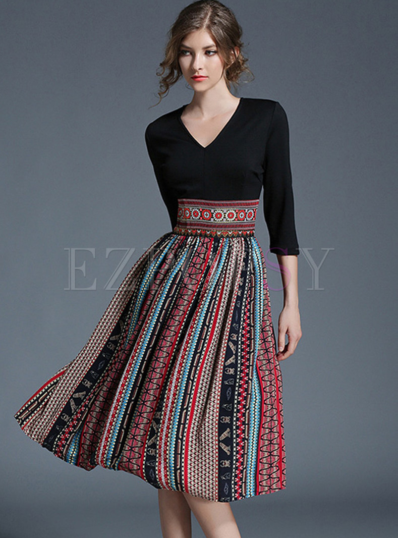 Hit Color Embroidered Chiffon Skater Dress